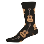 Men's Guitar Socks Black Crew