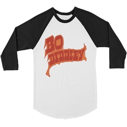 Firey Bo Diddley Raglan Baseball T Shirt