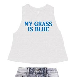 My Grass is Blue Racerback Crop Top - Women's