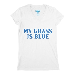 My Grass Is Blue Bluegrass Ladies V-Neck T Shirt - Women's