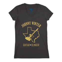 Texas Johnny Winter V-Neck T Shirt - Women's