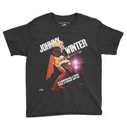 Johnny Winter Captured Live Youth T-Shirt - Lightweight Vintage Style