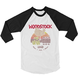 Bird & Guitar Woodstock Baseball T-Shirt