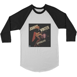 Johnny Winter Captured Live Baseball T-Shirt