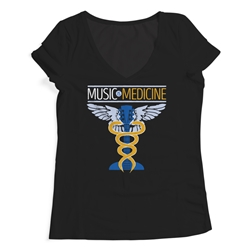 Music is Medicine Ladies V-Neck T Shirt
