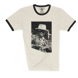 John Lee Hooker Black & White Photo Ringer T-Shirt