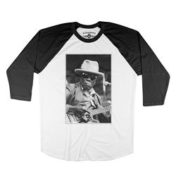 John Lee Hooker Black & White Photo Baseball T-Shirt