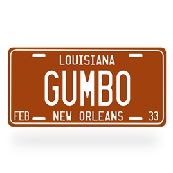 Gumbo Aluminum License Plate