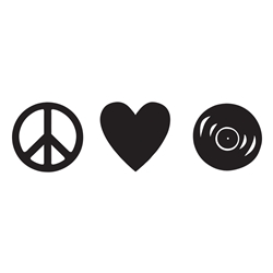 Peace Love Vinyl Records Car, Glass or Guitar Case Vinyl Decal