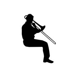 Sitting Trombonist Car, Glass or Guitar Case Vinyl Decal