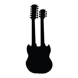 Double-Neck Guitar Rock n Roll Car, Glass or Guitar Case Vinyl Decal