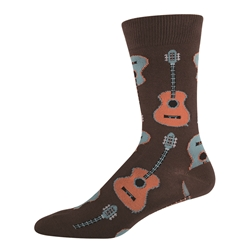 Men's Brown Crew Guitar Socks