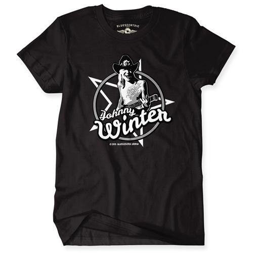 Johnny Winter T Shirt Mens Heavy Cotton Shirt Bluescentric